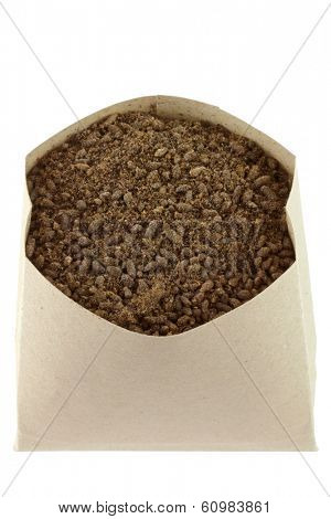 A bag full of Bat Guano Fertilizer isolated on white background
