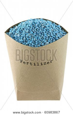 A bag full of Blue NPK compound Fertilizer isolated on white background
