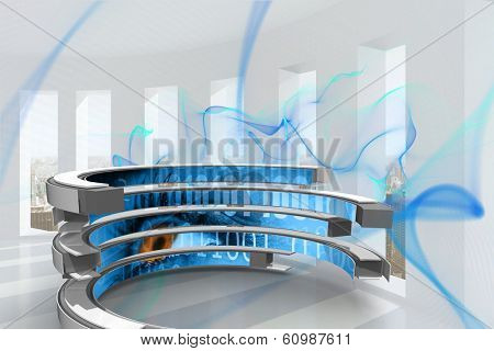 Binary code on abstract screen against blue abstract design in room