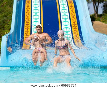 Family at waterslide
