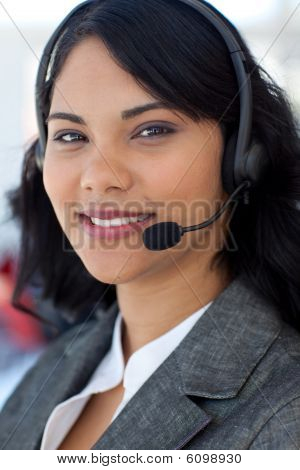 Portrait Of A Businesswoman In A Call Center