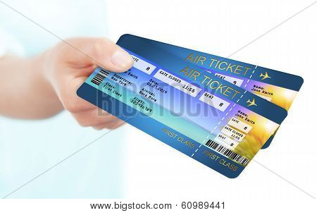 Hand Holding Holiday Airline Boarding Pass Ticket
