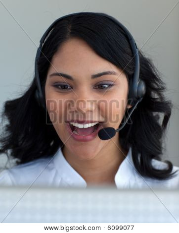 Ethnic Businesswoman In A Call Center