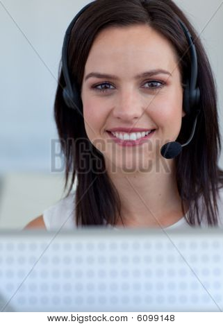 Portrait Of A Businesswoman In A Call Centre