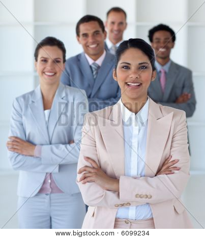 Smiling Businesswoman Leading Her Team