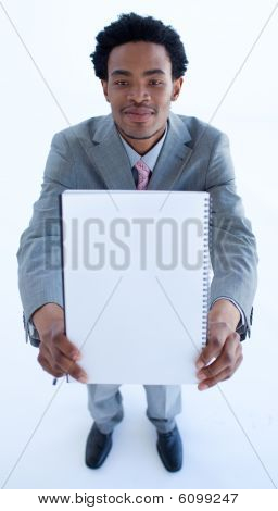 Businessman Holding A Big Notebook