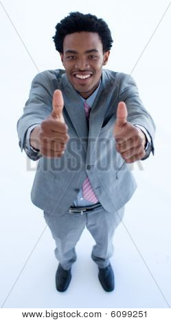 Happy Afro-american Businessman With Thumbs Up