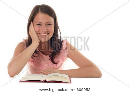 Happy Young Woman Reading Book
