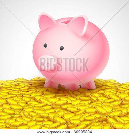 illustration of coin falling into piggy bank  on heap of gold coin showing saving concept