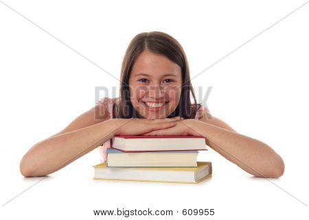 Smiling Woman With Stack Of Books
