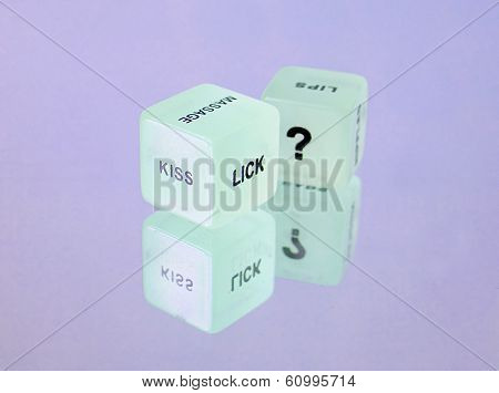 foreplay fun dice on lilac glass surface