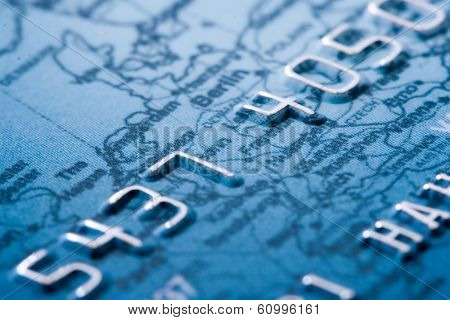 credit card detailed, shallow DOF, focus on digit 4