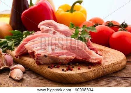 Sliced pieces of raw Meat for barbecue