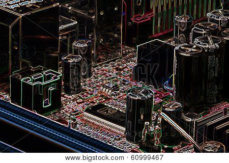 Computer Board In Neon