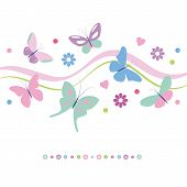 stock photo of butterfly  - lovely pink violet blue and green butterflies flowers and hearts greeting card on white background - JPG