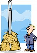 stock photo of proverb  - Cartoon Humor Concept Illustration of Needle in a Haystack Saying or Proverb - JPG
