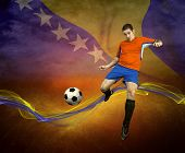 Abstract waves aroun soccer player on the national flag of Bosnia and Herzegovina