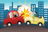 foto of bender  - A vector illustration of car accident in the city - JPG