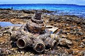 stock photo of million-dollar  - Military hardware and vehicle parts discarded by US forces at Million Dollar Point Vanuatu after WW2 - JPG