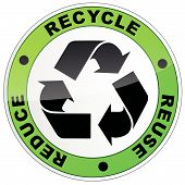 image of reuse recycle  - vector illustration of recycle sign on white background - JPG