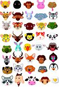 picture of jungle snake  - Vector illustration of Cartoon animal head collection set - JPG