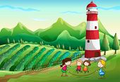 Illustration of the kids playing at the farm with a tower