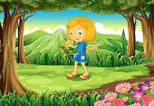 stock photo of hulahoop  - Illustration of a forest with a child playing - JPG