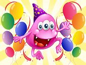 Illustration of a pink beanie monster in the middle of the balloons on a white background