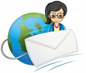 Illustration of a smart-looking lady in the middle of the globe and the envelope on a white backgrou