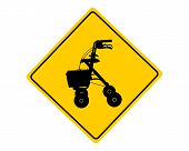 stock photo of rollator  - Detailed and accurate illustration of rollator warning sign - JPG