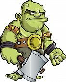 picture of ogre  - Cartoon ogre with a big hammer isolated on white - JPG
