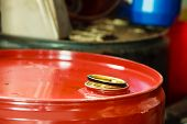 Red Oil Barrels In Mechanic Garage Car Service Or Shop