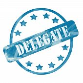 Blue Weathered Delegate Stamp Circle And Stars
