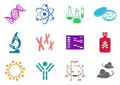 picture of genes  - Set of twelve colorful molecular biology science icons - JPG