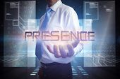 image of hologram  - Businessman presenting the word presence against hologram on black background with squares - JPG