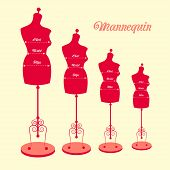 stock photo of dress mannequin  - vector vintage tailor - JPG