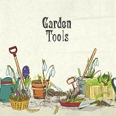 foto of hoe  - Hand drawn gardening tools album cover border or frame for plants flowers farming and agriculture vector illustration - JPG