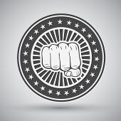 foto of clenched fist  - Clenched mans power fist icon vector illustration - JPG