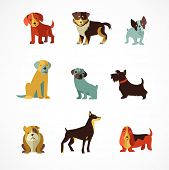 stock photo of dog poop  - Dogs vector set of icons and illustrations - JPG