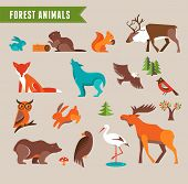 stock photo of wild-rabbit  - Forest animals vector set of icons and illustrations - JPG