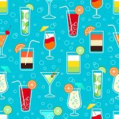 picture of vodka  - Seamless pattern background with alcohol cocktail drinks of martini margarita tequila vodka vector illustration - JPG