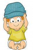 Illustration of a Baby Boy Wearing a Beanie
