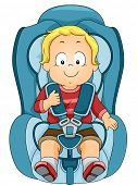 stock photo of seatbelt  - Illustration of a Toddler Strapped to a Car Seat - JPG