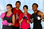 stock photo of kickboxing  - Group of people in a boxing class - JPG