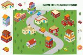 stock photo of house woods  - Illustration of a Detail Isometric Neighborhood available in vector eps 8 file - JPG