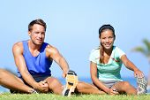picture of woman couple  - Stretching exercises  - JPG