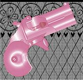 image of fishnet stockings  - A Derringer pistol in pink over a lace stocking background in a fishnet style with hearts and flowers - JPG