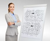 business, education and office concept - smiling businesswoman standing next to flip board with big