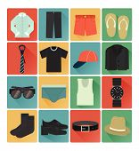 stock photo of gents  - vector flat icons gent clothes colorful set 16 - JPG