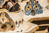 foto of gaudi barcelona  - Barcelona Park Guell of Gaudi tiles mosaic serpentine bench modernism - JPG